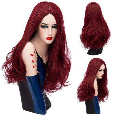 Long Center Parting Shaggy Wavy Synthetic Wig - Dark Red