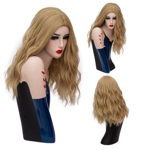 Long Center Part Fluffy Natural Wave Synthetic Wig - Gold Brown