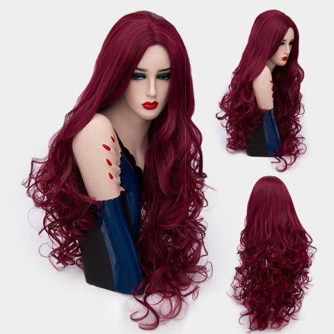 Ultra Long Middle Part Layered Shaggy Curly Synthetic Wig - Wine Red