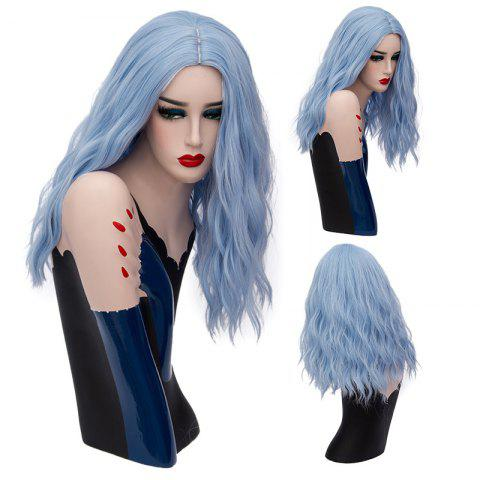 Long Center Part Fluffy Natural Wave Synthetic Wig - Windsor Blue