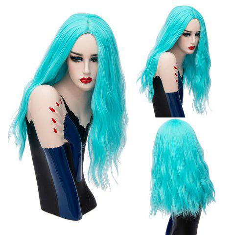 Long Center Part Fluffy Natural Wave Synthetic Wig - Pantone Turquoise