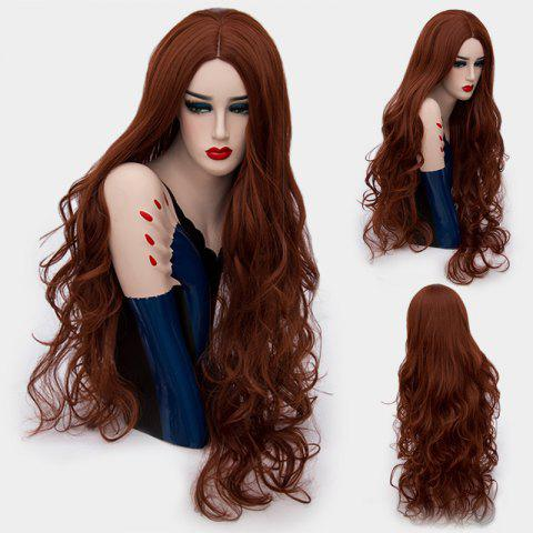 Ultra Long Middle Part Layered Shaggy Curly Synthetic Wig - Dark Auburn