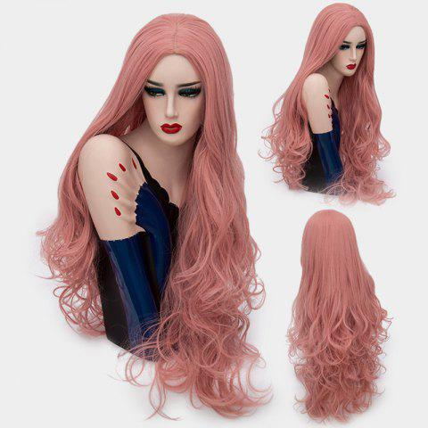 Ultra Long Middle Part Layered Shaggy Curly Synthetic Wig - Pink Smoke