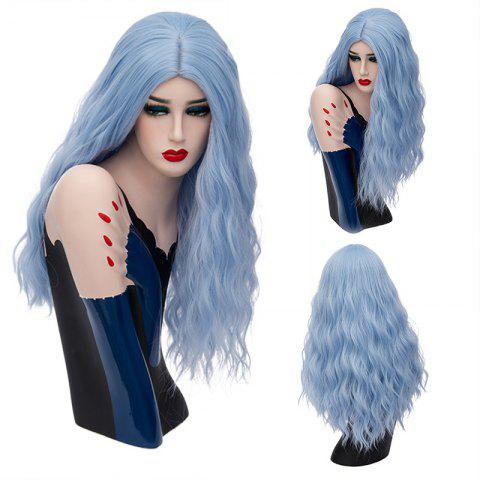 Long Middle Part Shaggy Natural Wave Synthetic Wig - Windsor Blue