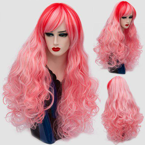 Long Side Bang Colormix Layered Shaggy Curly Synthetic Wig - Pink