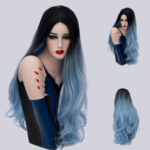 Long Cen Part Ombre Layered Wavy Synthetic Wig - Blue And Black