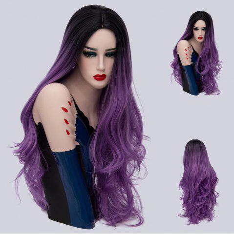 Trendy Long Cen Part Ombre Layered Wavy Synthetic Wig
