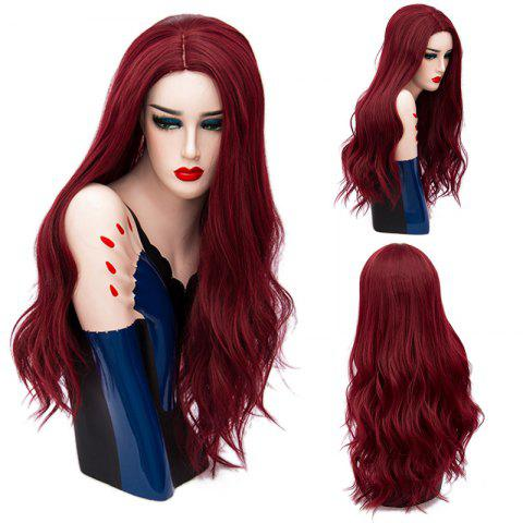 Long Middle Part Layered Shaggy Wavy Synthetic Wig - Dark Red