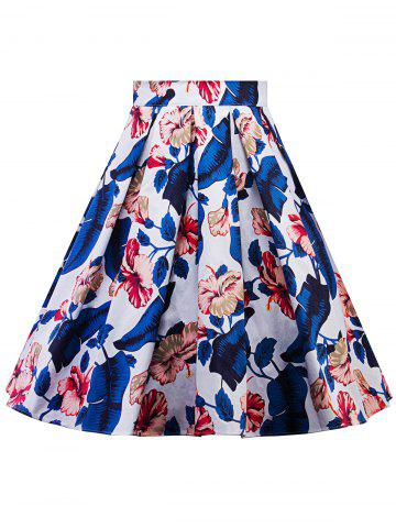Outfits Plus Size A Line Floral Skirt - 2XL BLUE Mobile