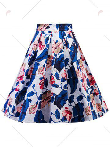 New Plus Size A Line Floral Skirt - 2XL BLUE Mobile