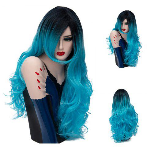 Long Side Part Ombre Shaggy Layered Curly Synthetic Wig - Blue