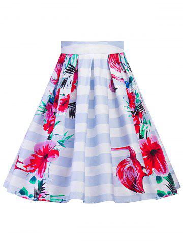Buy Plus Size A Line Floral Skirt - 2XL CLOUDY Mobile