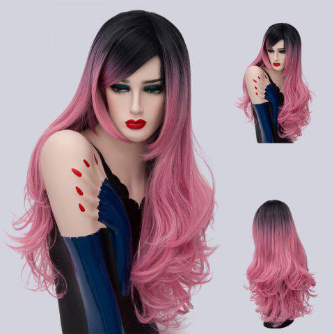 Long Side Part Ombre Shaggy Layered Curly Synthetic Wig - Pink