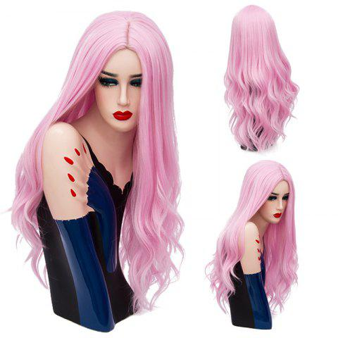 Long Middle Part Layered Shaggy Wavy Synthetic Wig - Light Pink