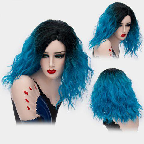 Medium Side Part Shaggy Natural Wave Ombre Synthetic Wig - Blue