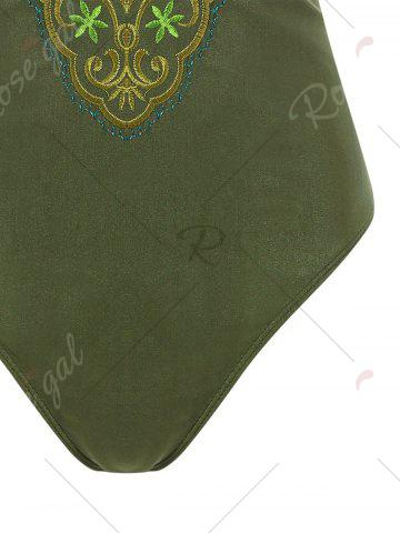 Shops Plus Size Cross Back Embroidered Swimsuit - 4XL ARMY GREEN Mobile
