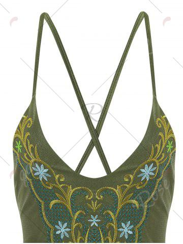 Best Plus Size Cross Back Embroidered Swimsuit - 4XL ARMY GREEN Mobile