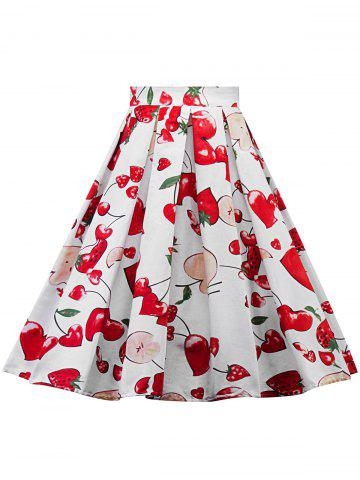Best Plus Size A Line Floral Skirt - 2XL WHITE Mobile