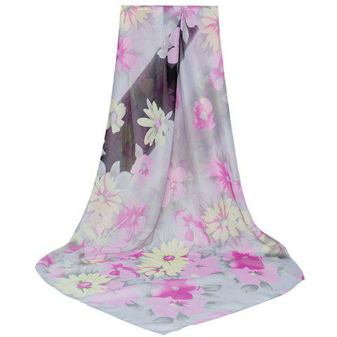 Cheap Lightsome Gossamer Watercolour Flowers Pattern Scarf PINKISH PURPLE
