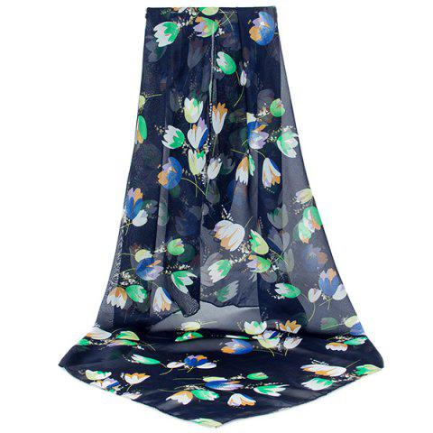 Cheap Lightsome Vintage Flowers Printing Shawl Scarf BLACK