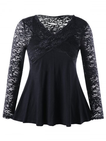 Shop Lace Insert Empire Waist Plus Size Top