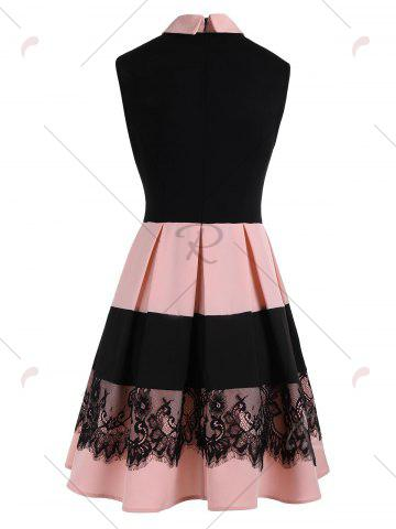 Fashion Lace Insert Sleeveless Fit and Flare Dress - M COLORMIX Mobile