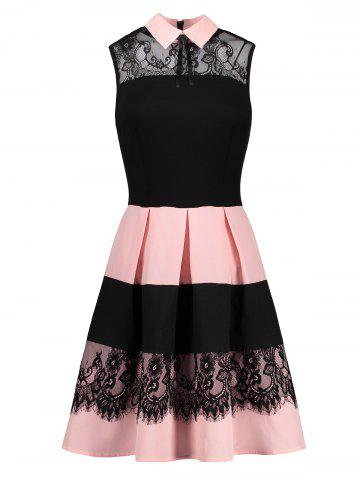 Lace Insert Sleeveless Fit and Flare Dress - Colormix - S
