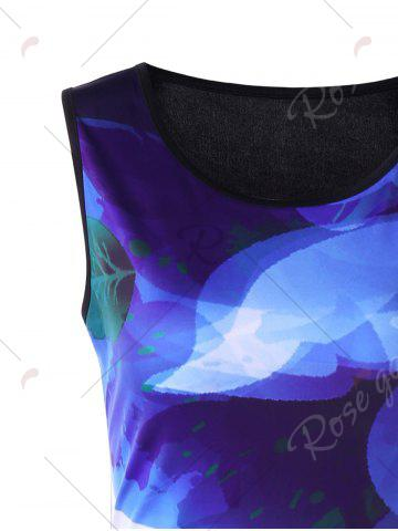 Fashion Ink Printing Ombre Sleeveless Bodycon Dress - XL COLORMIX Mobile
