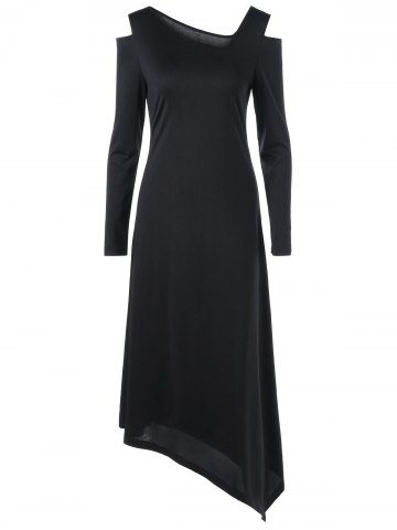Long Sleeve Cold Shoulder Asymmetric Dress - Black - 2xl