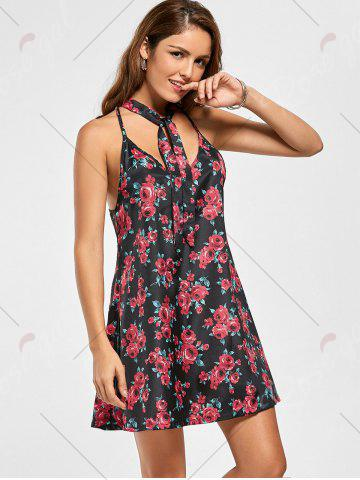 Buy Racerback Floral Print Mini Shift Dress - S FLORAL Mobile