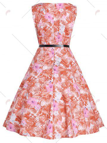 New Tropical Print Floral A Line Party Dress - 2XL RED Mobile
