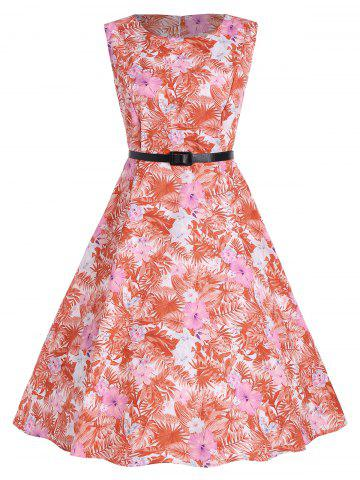 Affordable Tropical Print Floral A Line Party Dress - 2XL RED Mobile