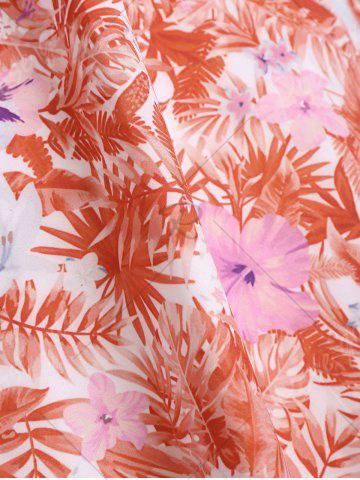 Outfit Tropical Print Floral A Line Party Dress - 2XL RED Mobile