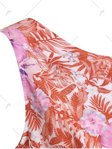 Fashion Tropical Print Floral A Line Party Dress - 2XL RED Mobile