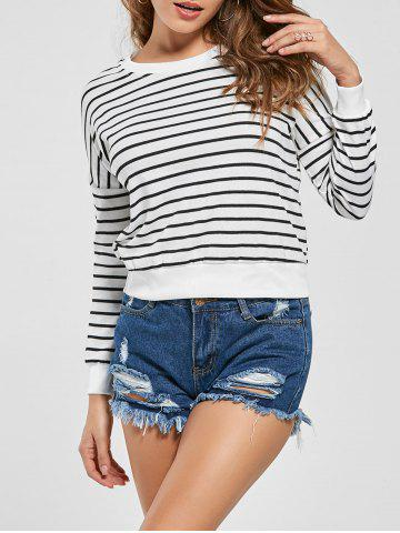Outfit Slim Fit Knit Striped Sweatshirt WHITE S
