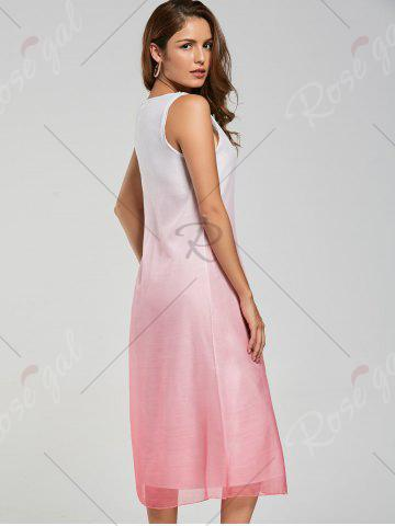 Store Ombre Print Knee Length Shift Dress - XL PINK Mobile