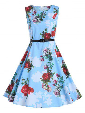 Sale Print Knee Length Party Vintage Dress - 2XL BLUE Mobile