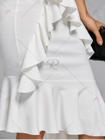 New Ruffle Mermaid Cold Shoulder Dress - S WHITE Mobile