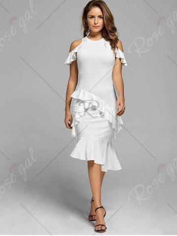 Outfits Ruffle Mermaid Cold Shoulder Dress - S WHITE Mobile