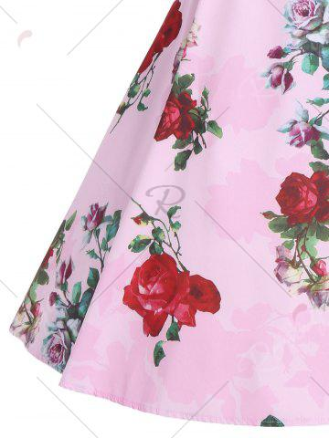 Shop Print Knee Length Party Vintage Dress - 2XL PINK Mobile
