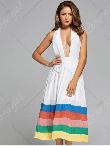 Outfits Halter Color Block Chiffon A Line Dress - S WHITE Mobile