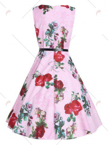 Fancy Print Knee Length Party Vintage Dress - 2XL PINK Mobile