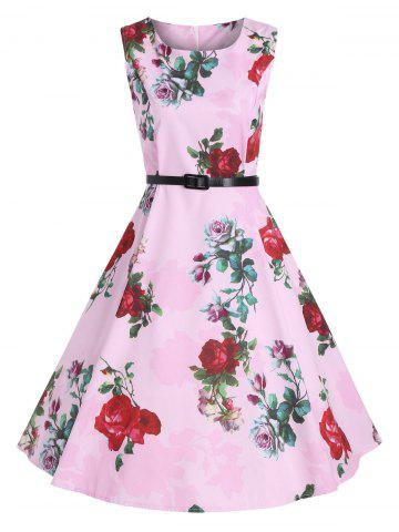 Outfits Print Knee Length Party Vintage Dress - 2XL PINK Mobile