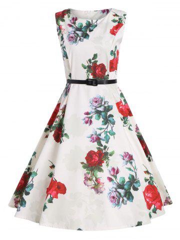 Discount Print Knee Length Party Vintage Dress - 2XL BEIGE Mobile