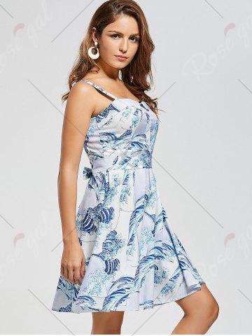 Sale Retro Sea Wave Print Skater Dress - XS LIGHT BLUE Mobile