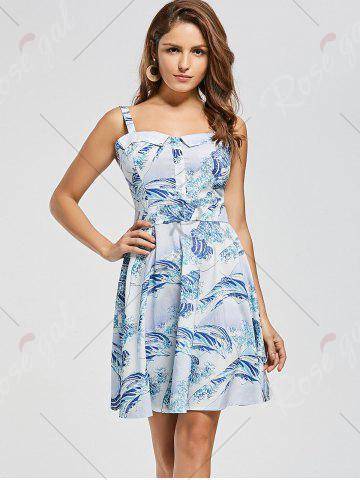 Shops Retro Sea Wave Print Skater Dress - XS LIGHT BLUE Mobile