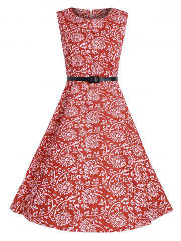 Print A Line High Waist Party Vintage Dress - Red - S
