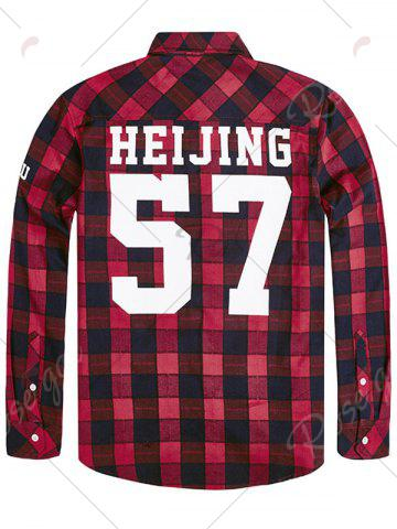 Sale Plus Size Graphic Print Plaid Shirt - 3XL RED Mobile