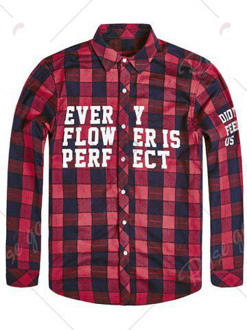 Chic Plus Size Graphic Print Plaid Shirt - 6XL RED Mobile