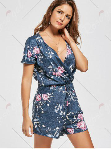Outfit Drawsting Short Sleeve Floral Surplice Romper - S DARK GRAY GREEN Mobile